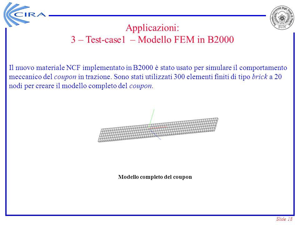 Slide 18 Modello completo del coupon Il nuovo materiale NCF implementato in B2000 è stato usato per simulare il comportamento meccanico del coupon in