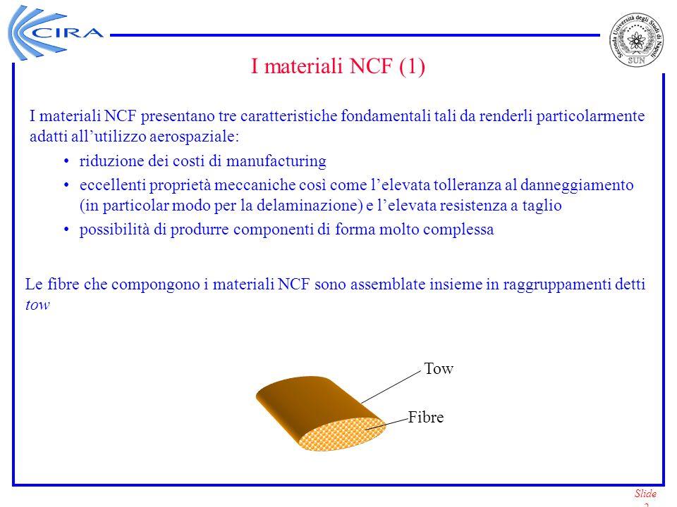 Slide 13 Sviluppo del materiale NCF: 8 – Implementazione in B2000 Lelement processor del B2000 e linput processor del B2000 sono stati modificati per limplementazione del materiale NCF: Nellinput processor è stata implementata la capacità di leggere i principali parametri del materiale NCF.