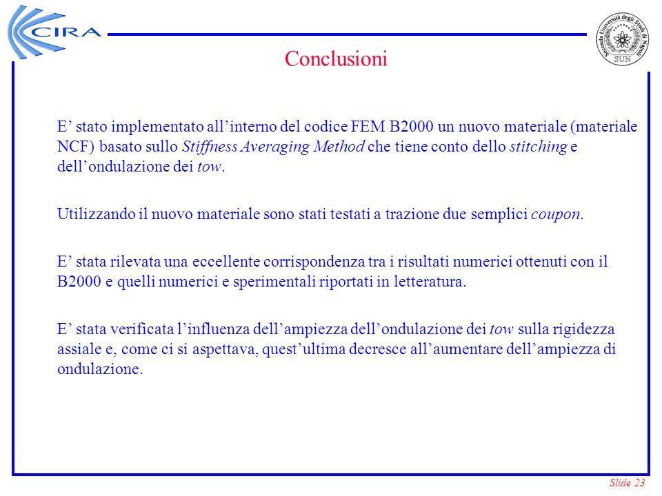 Slide 23 Conclusioni E stato implementato allinterno del codice FEM B2000 un nuovo materiale (materiale NCF) basato sullo Stiffness Averaging Method c