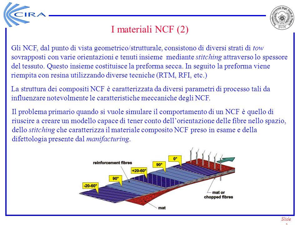 Slide 4 Modellazione dei compositi NCF: approcci analizzati –Approccio con Super-Elementi – Può essere utilizzato con un qualsiasi codice commerciale FEM che supporti le caratteristiche delle sottostrutture – Elevato dispendio di tempo e di spazio su disco (specialmente nel caso di strutture molto grandi) – La grandezza dellelemento finito deve essere dello stesso ordine di quella della RVE – Possono insorgere problemi per analisi non lineari (con le sottostrutture non vengono presi in considerazione tutti I termini non lineari) –Approccio con sviluppo di un elemento finito NCF (Micromeccanica + Classical Lamination Theory + Stiffness Averaging Method) – Non semplice da implementare – Strutture molto grandi possono essere modellate in modo semplice – La grandezza dellelemento finito può essere molto maggiore di quella della RVE – Possono essere effettuate analisi non lineari –Approccio con sviluppo di un materiale NCF (Micromeccanica + Stiffness Averaging method) –Non semplice da implementare –Strutture molto grandi possono essere modellate in modo semplice –La grandezza dellelemento finito può essere molto maggiore di quella della RVE –Possono essere effettuate analisi non lineari –Elementi di tipo diverso possono essere adottati per le analisi –La CLT può essere usata in modo semplice insieme alla definizione del nuovo materiale NCF –Possiamo tener conto dellondulazione dei tow