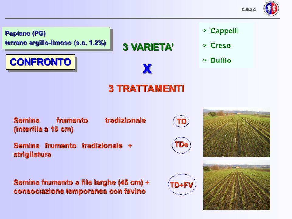 Cappelli Creso Duilio Semina frumento tradizionale (interfila a 15 cm) Semina frumento a file larghe (45 cm) + consociazione temporanea con favino Semina frumento tradizionale + strigliatura 3 VARIETA 3 TRATTAMENTI x x TD TDe TD+FV CONFRONTOCONFRONTO Papiano (PG) terreno argillo-limoso (s.o.