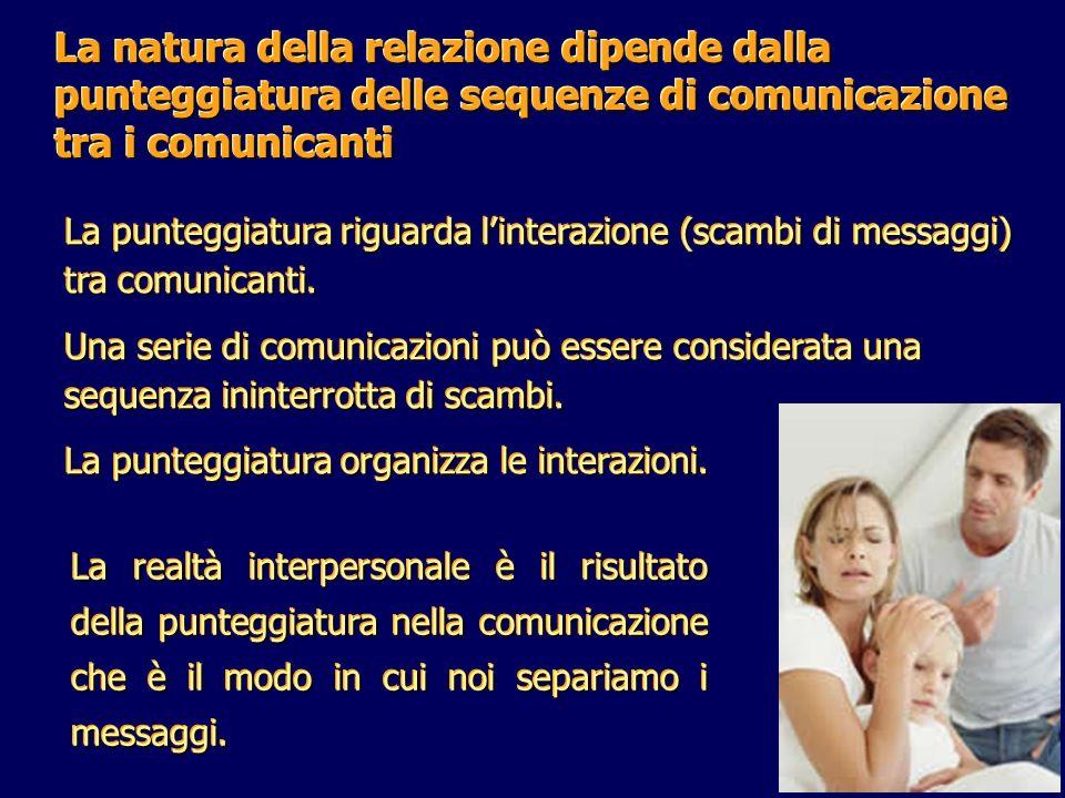 La natura della relazione dipende dalla punteggiatura delle sequenze di comunicazione tra i comunicanti La punteggiatura riguarda linterazione (scambi