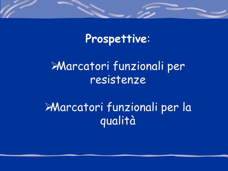 Prospettive: Marcatori funzionali per resistenze Marcatori funzionali per la qualità