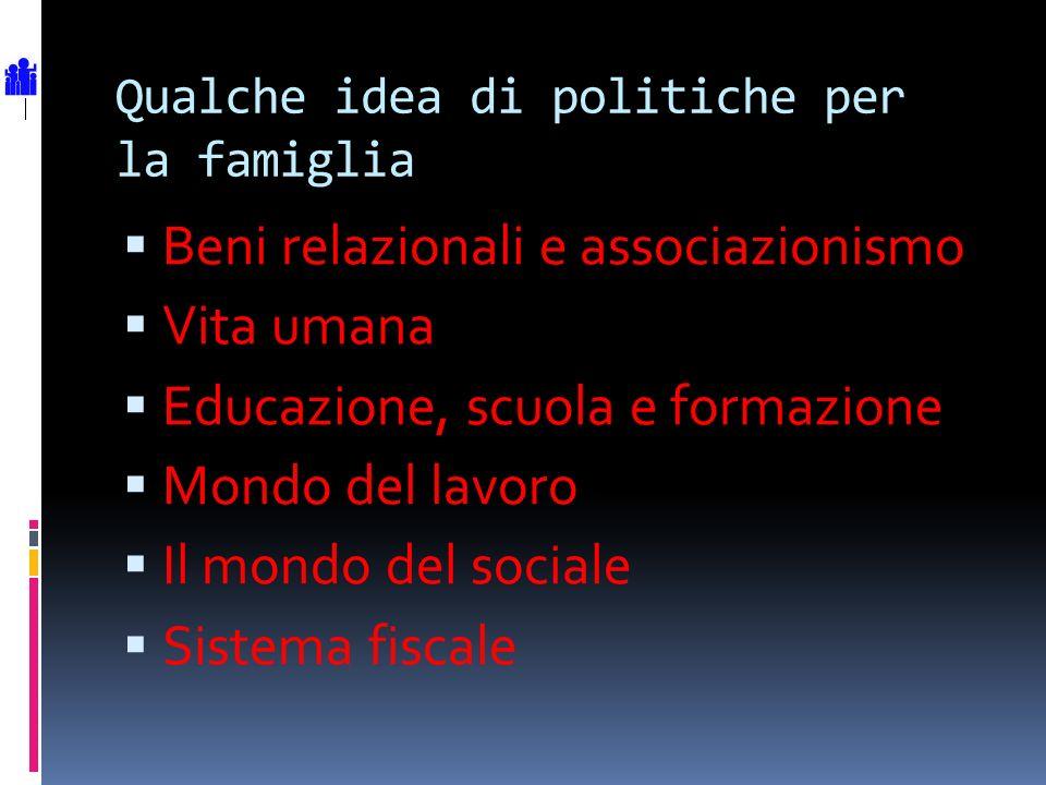 Qualche idea di politiche per la famiglia Beni relazionali e associazionismo Vita umana Educazione, scuola e formazione Mondo del lavoro Il mondo del sociale Sistema fiscale