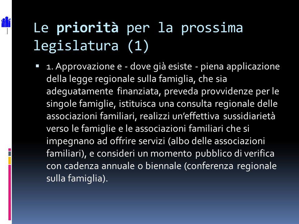 Le priorità per la prossima legislatura (1) 1. Approvazione e - dove già esiste - piena applicazione della legge regionale sulla famiglia, che sia ade