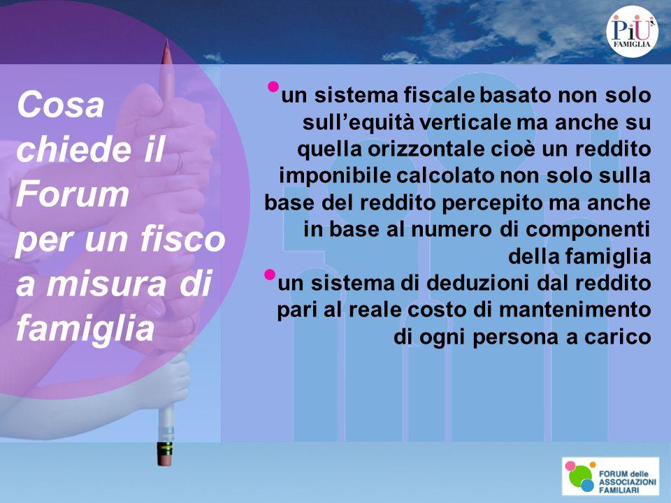 Cosa chiede il Forum per un fisco a misura di famiglia un sistema fiscale basato non solo sullequità verticale ma anche su quella orizzontale cioè un