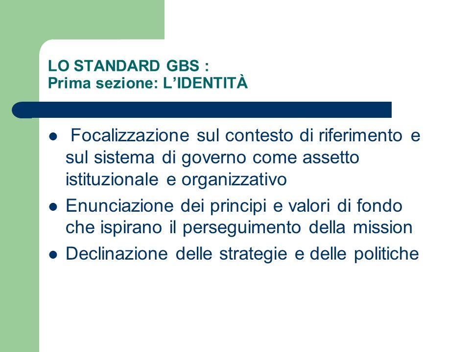 LO STANDARD GBS : Prima sezione: LIDENTITÀ Focalizzazione sul contesto di riferimento e sul sistema di governo come assetto istituzionale e organizzat