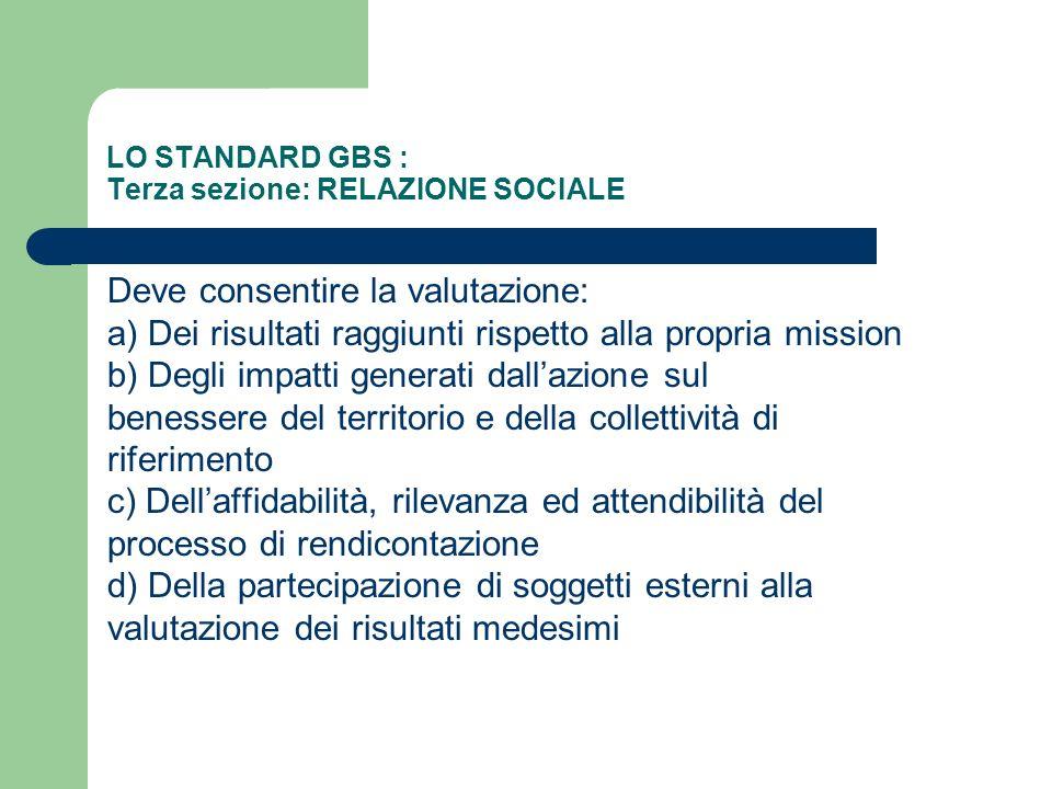LO STANDARD GBS : Terza sezione: RELAZIONE SOCIALE Deve consentire la valutazione: a) Dei risultati raggiunti rispetto alla propria mission b) Degli i