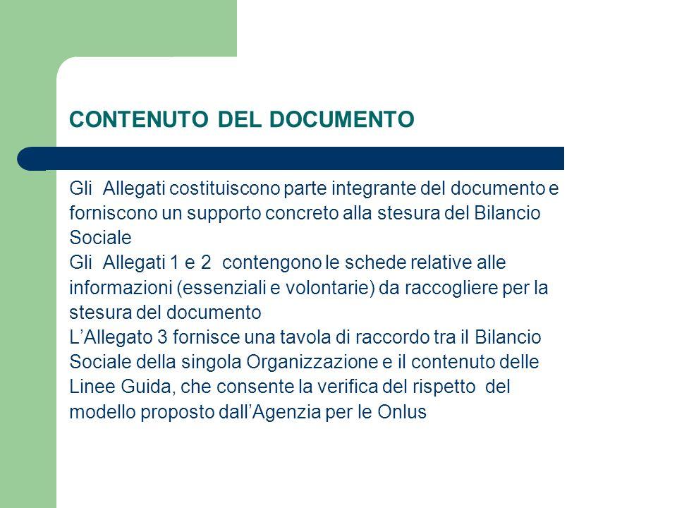 CONTENUTO DEL DOCUMENTO Gli Allegati costituiscono parte integrante del documento e forniscono un supporto concreto alla stesura del Bilancio Sociale