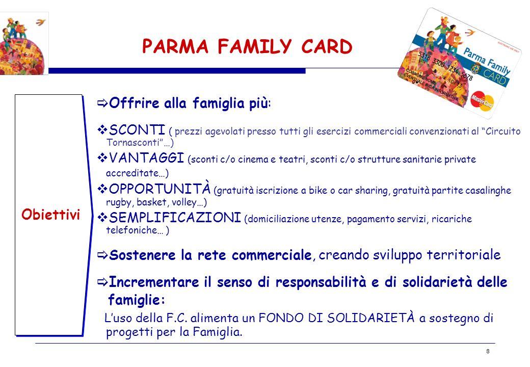 BOZZA 8 PARMA FAMILY CARD Obiettivi Offrire alla famiglia più: SCONTI ( prezzi agevolati presso tutti gli esercizi commerciali convenzionati al Circui