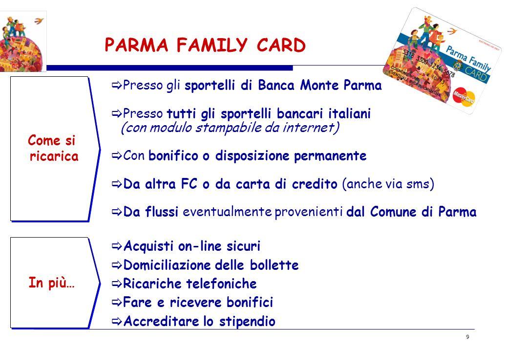 BOZZA 9 PARMA FAMILY CARD Come si ricarica In più… Presso gli sportelli di Banca Monte Parma Presso tutti gli sportelli bancari italiani (con modulo s