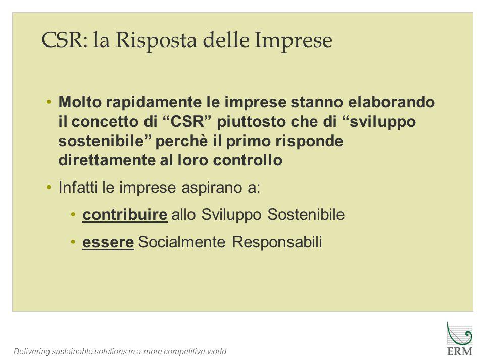 Delivering sustainable solutions in a more competitive world Molto rapidamente le imprese stanno elaborando il concetto di CSR piuttosto che di svilup
