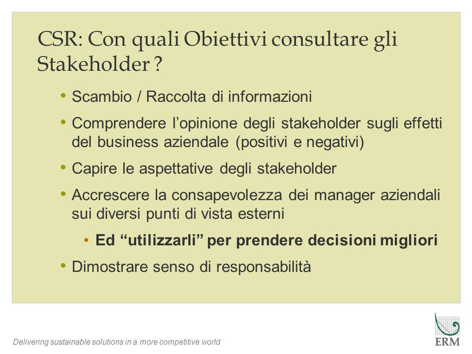 Delivering sustainable solutions in a more competitive world CSR: Con quali Obiettivi consultare gli Stakeholder ? Scambio / Raccolta di informazioni