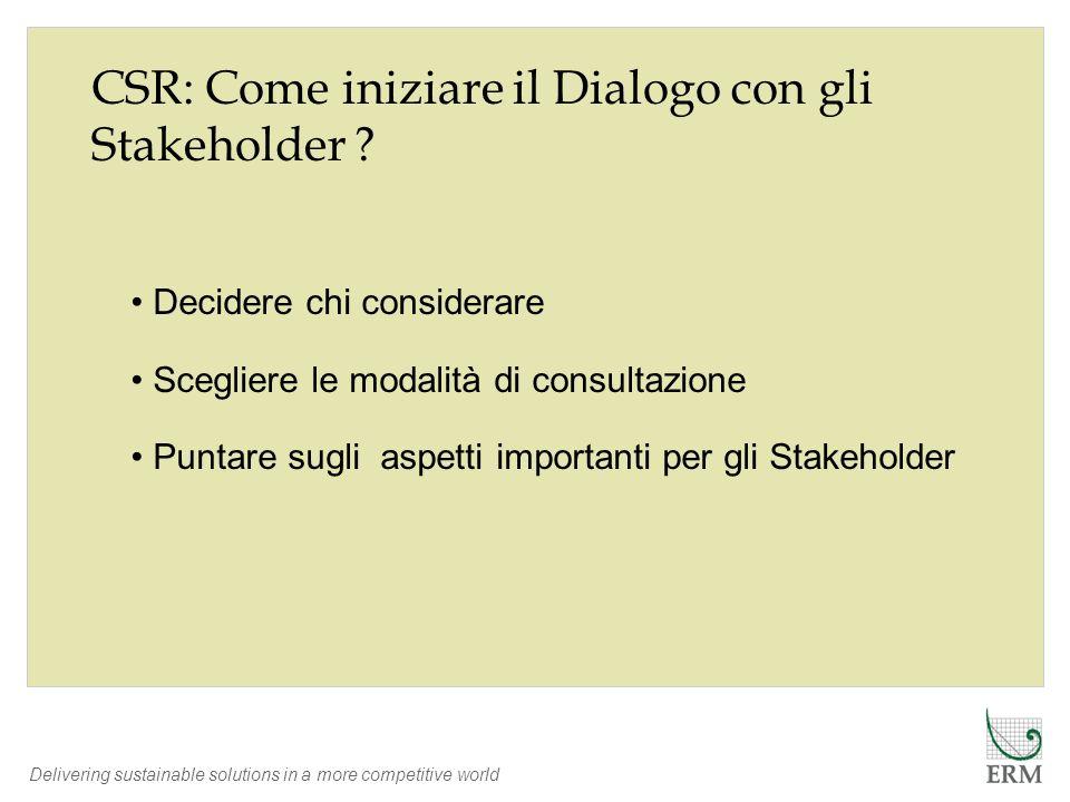 Delivering sustainable solutions in a more competitive world CSR: Come iniziare il Dialogo con gli Stakeholder ? Decidere chi considerare Scegliere le