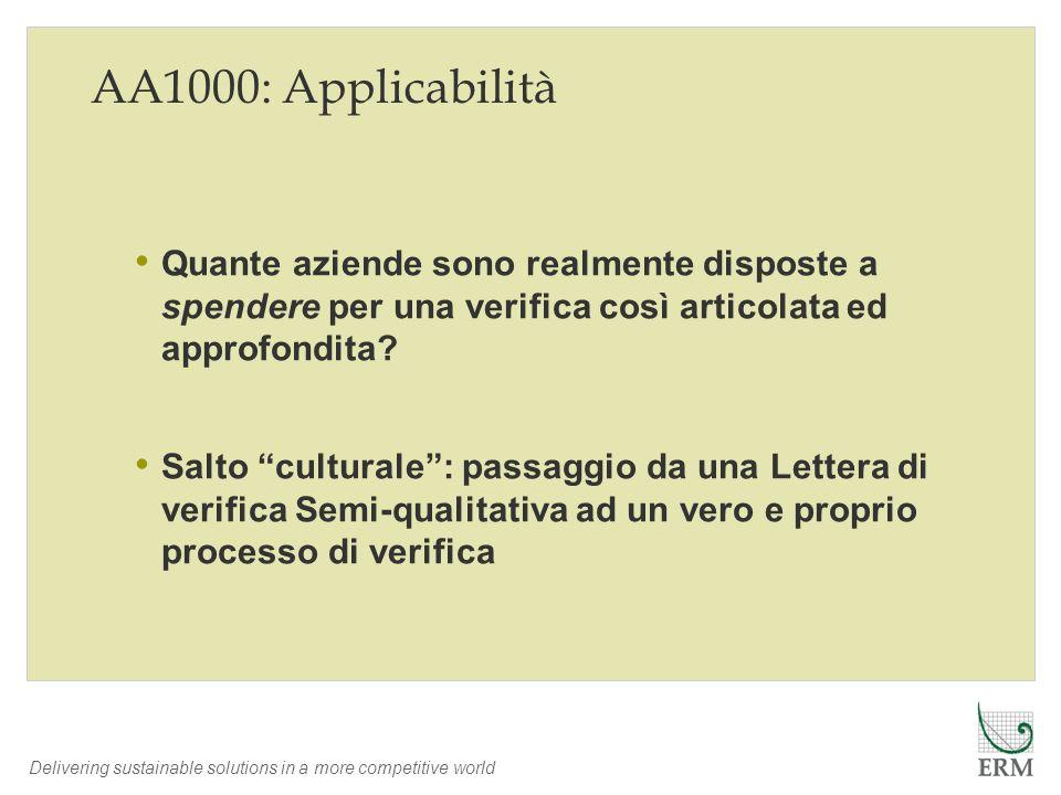 Delivering sustainable solutions in a more competitive world AA1000: Applicabilità Quante aziende sono realmente disposte a spendere per una verifica