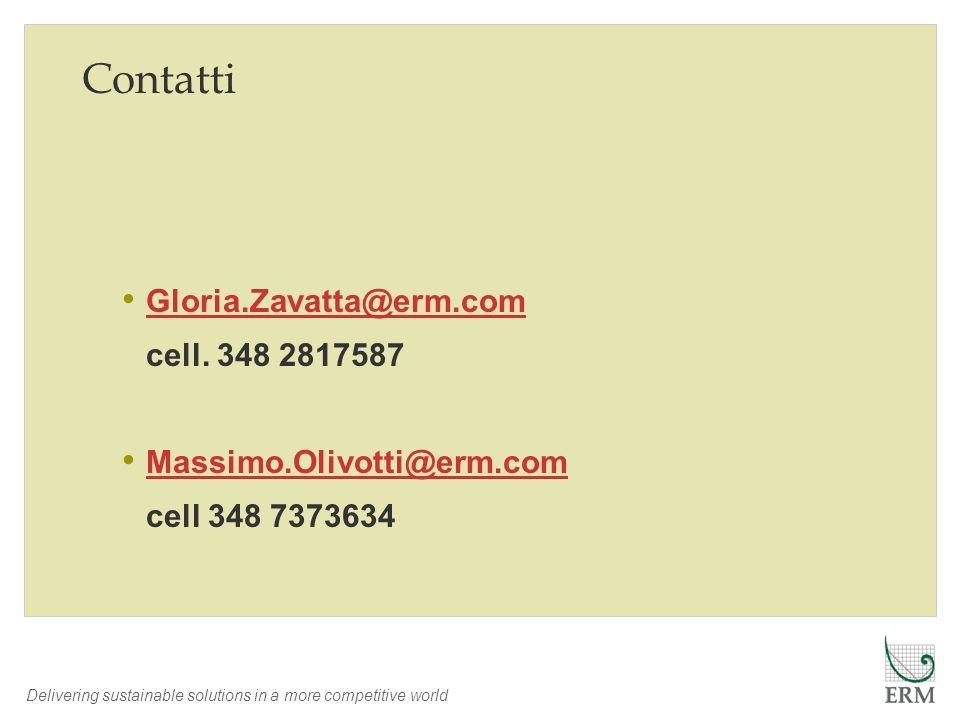 Delivering sustainable solutions in a more competitive world Contatti Gloria.Zavatta@erm.com cell. 348 2817587 Massimo.Olivotti@erm.com cell 348 73736