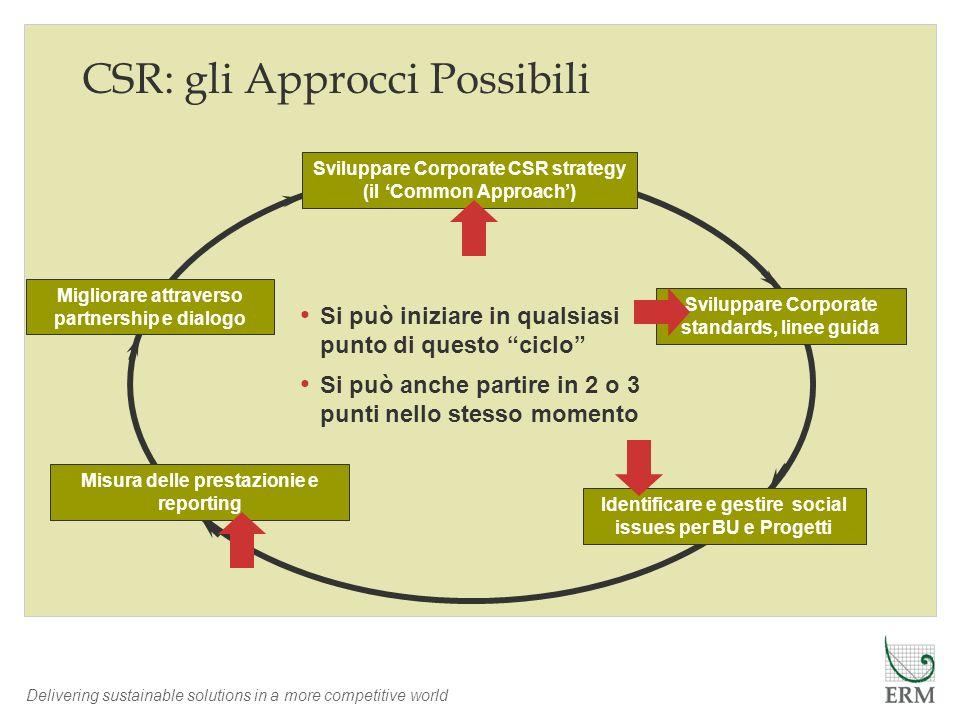 Delivering sustainable solutions in a more competitive world CSR: gli Approcci Possibili Identificare e gestire social issues per BU e Progetti Misura