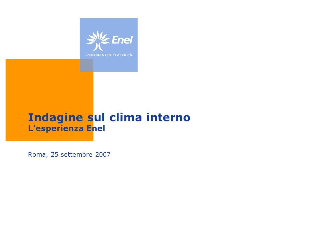 Indagine sul clima interno Lesperienza Enel Roma, 25 settembre 2007