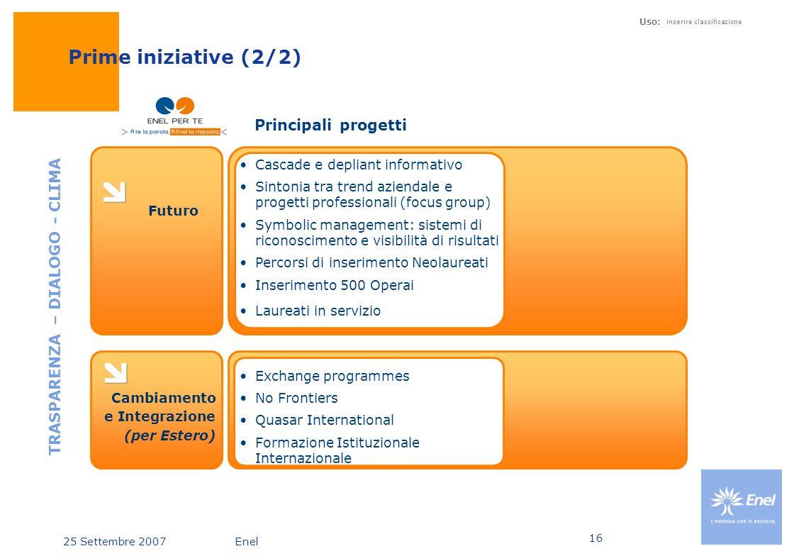 25 Settembre 2007Enel Uso: inserire classificazione 16 Prime iniziative (2/2) Futuro TRASPARENZA – DIALOGO - CLIMA Principali progetti Cascade e depli