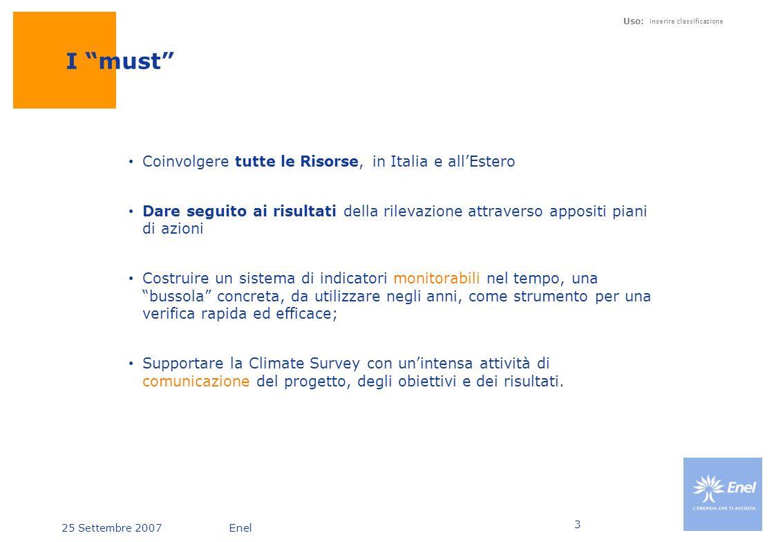 25 Settembre 2007Enel Uso: inserire classificazione 3 I must Coinvolgere tutte le Risorse, in Italia e allEstero Dare seguito ai risultati della rilev