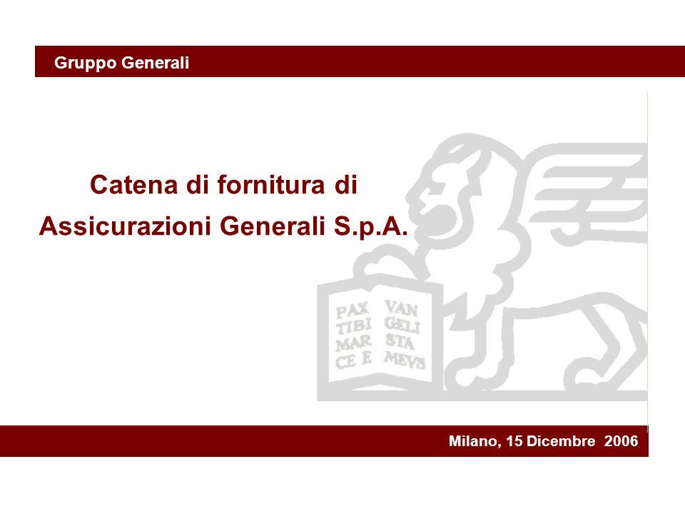 Milano, 15 Dicembre 2006 Catena di fornitura di Assicurazioni Generali S.p.A. Gruppo Generali
