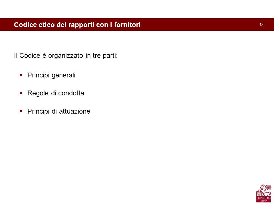 12 Codice etico dei rapporti con i fornitori Il Codice è organizzato in tre parti: Principi generali Regole di condotta Principi di attuazione