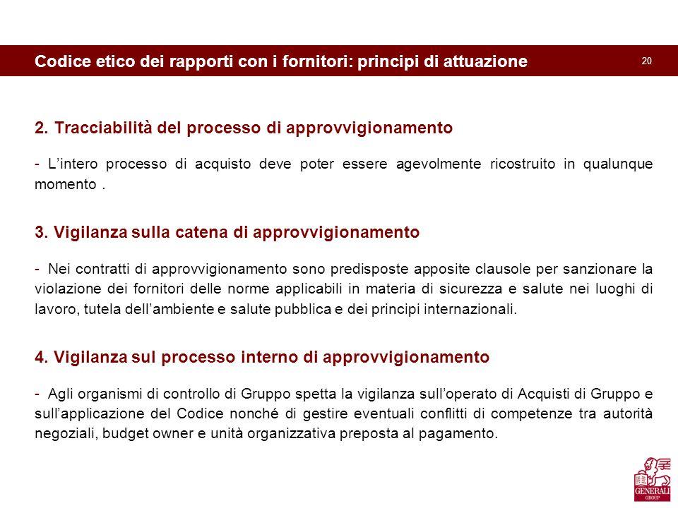 20 Codice etico dei rapporti con i fornitori: principi di attuazione 2.