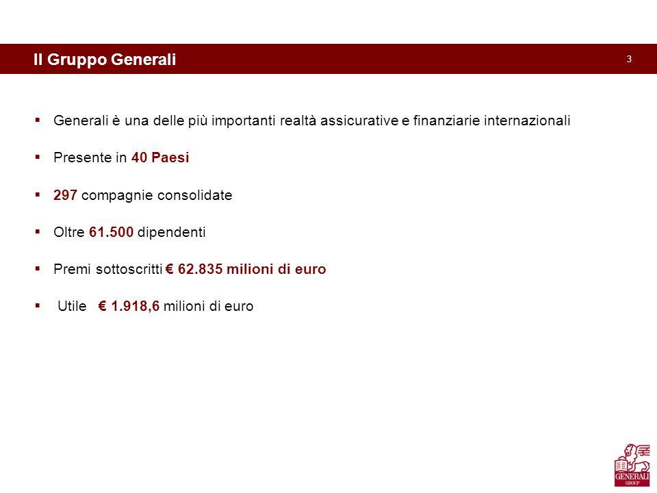 3 Il Gruppo Generali Generali è una delle più importanti realtà assicurative e finanziarie internazionali Presente in 40 Paesi 297 compagnie consolidate Oltre 61.500 dipendenti Premi sottoscritti 62.835 milioni di euro Utile 1.918,6 milioni di euro