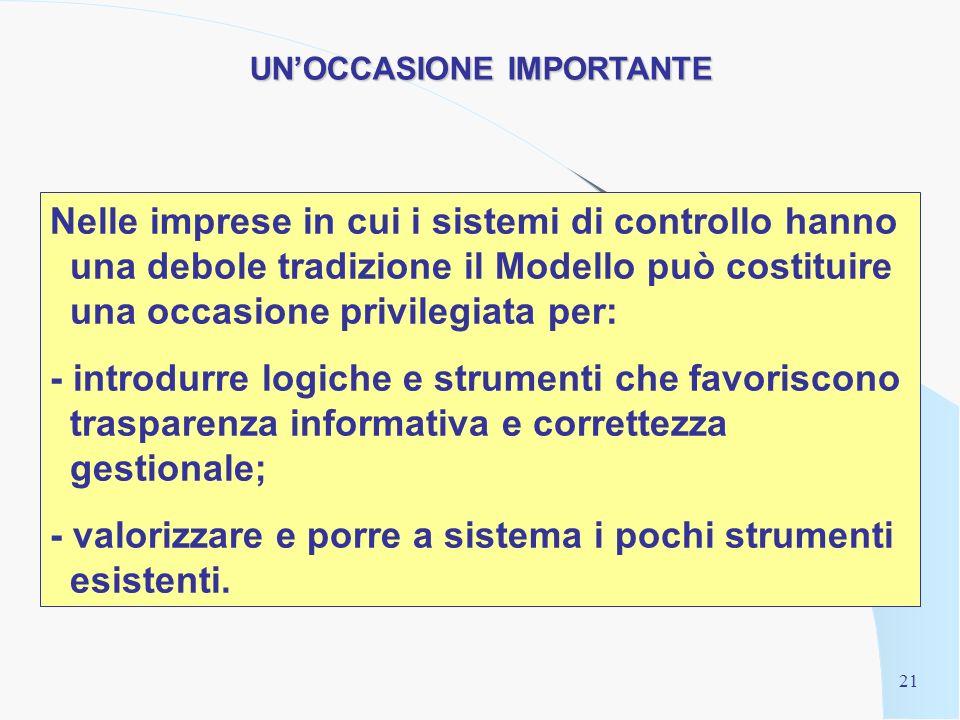 20 4. Il Modello nelle imprese a ridotta cultura dei controlli