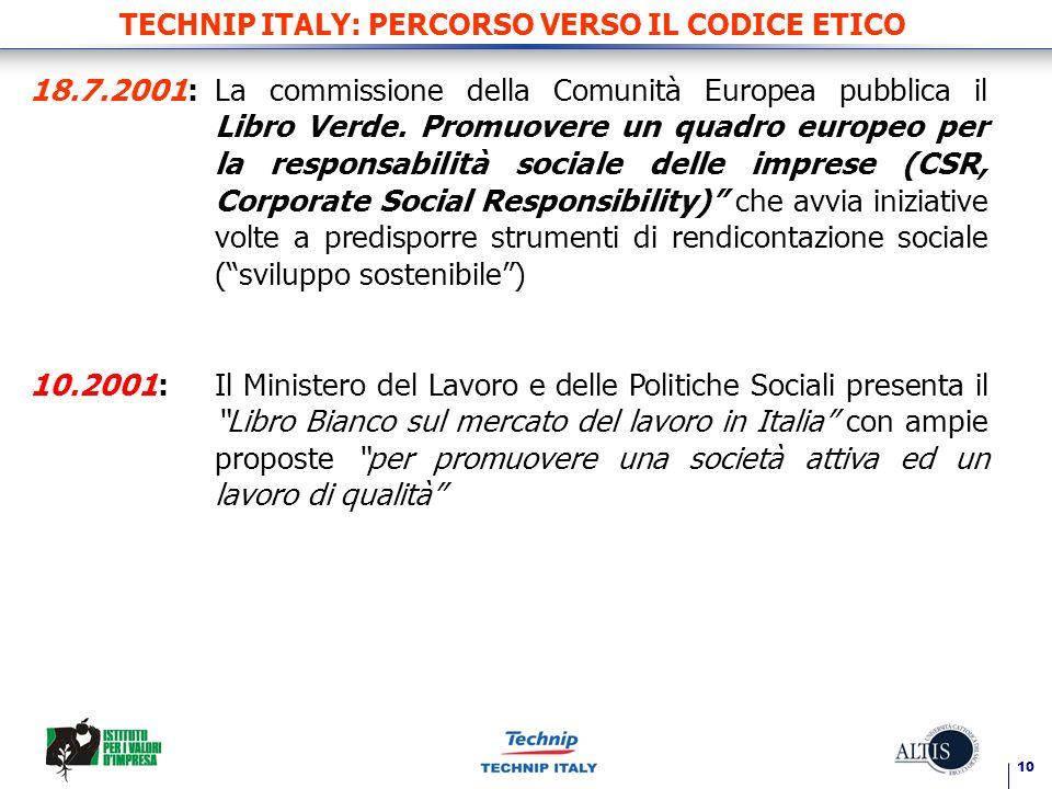 10 TECHNIP ITALY: PERCORSO VERSO IL CODICE ETICO 18.7.2001:La commissione della Comunità Europea pubblica il Libro Verde. Promuovere un quadro europeo