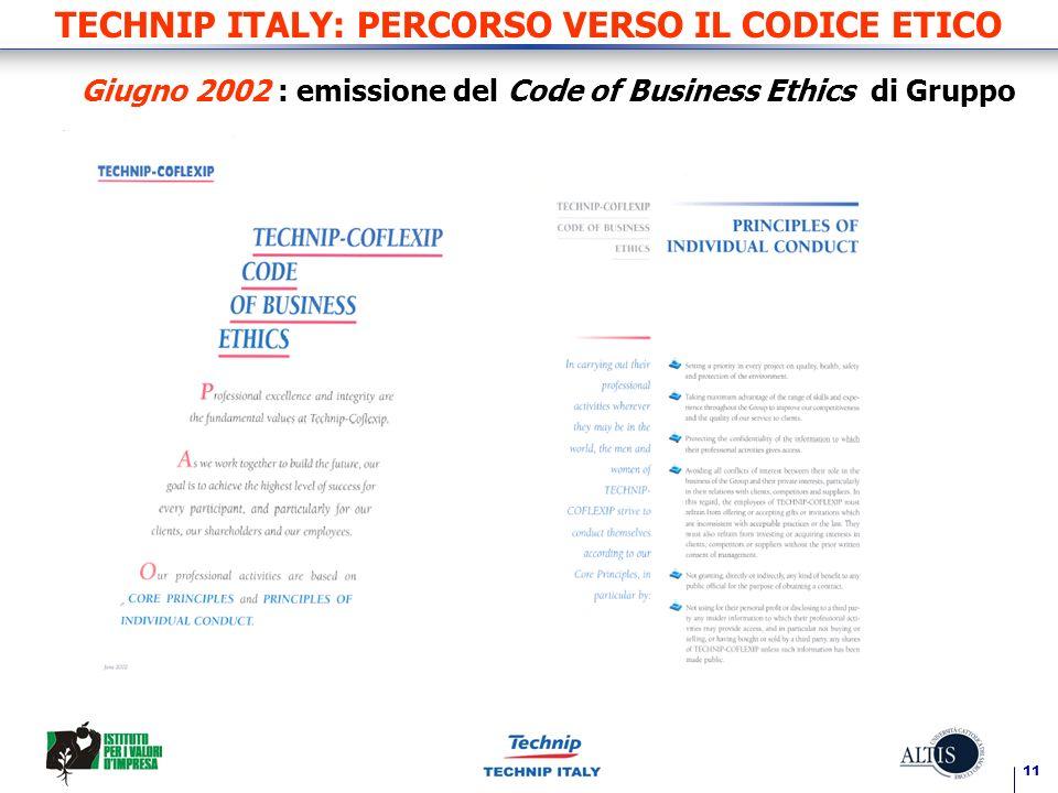11 TECHNIP ITALY: PERCORSO VERSO IL CODICE ETICO Giugno 2002 : emissione del Code of Business Ethics di Gruppo