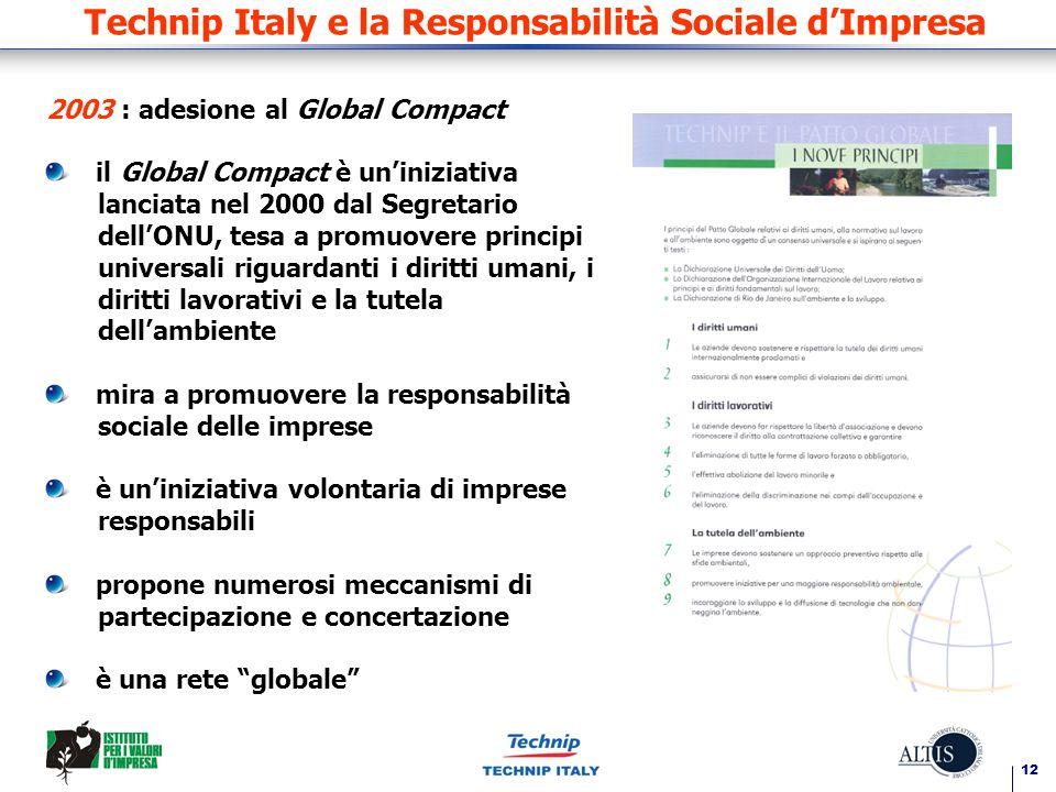 12 Technip Italy e la Responsabilità Sociale dImpresa 2003 : adesione al Global Compact il Global Compact è uniniziativa lanciata nel 2000 dal Segreta