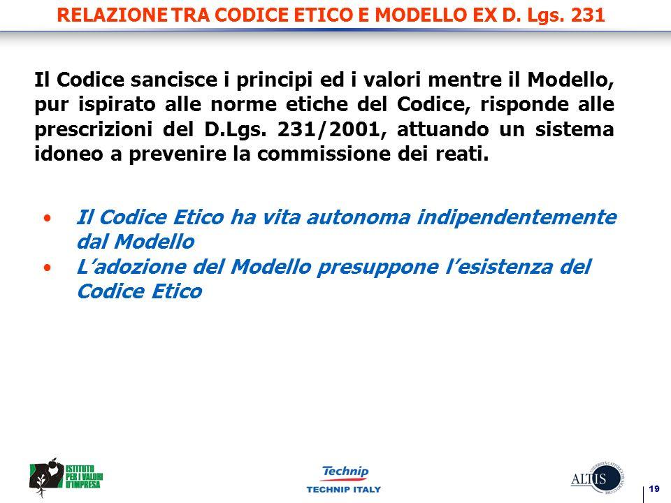 19 RELAZIONE TRA CODICE ETICO E MODELLO EX D. Lgs. 231 Il Codice sancisce i principi ed i valori mentre il Modello, pur ispirato alle norme etiche del