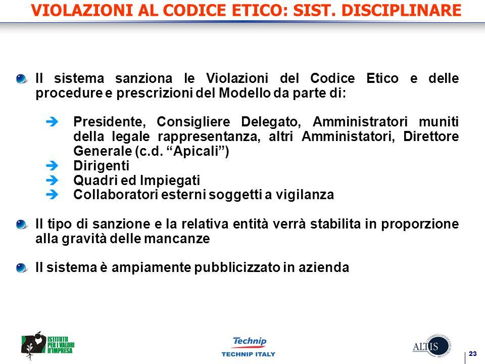 23 VIOLAZIONI AL CODICE ETICO: SIST. DISCIPLINARE Il sistema sanziona le Violazioni del Codice Etico e delle procedure e prescrizioni del Modello da p