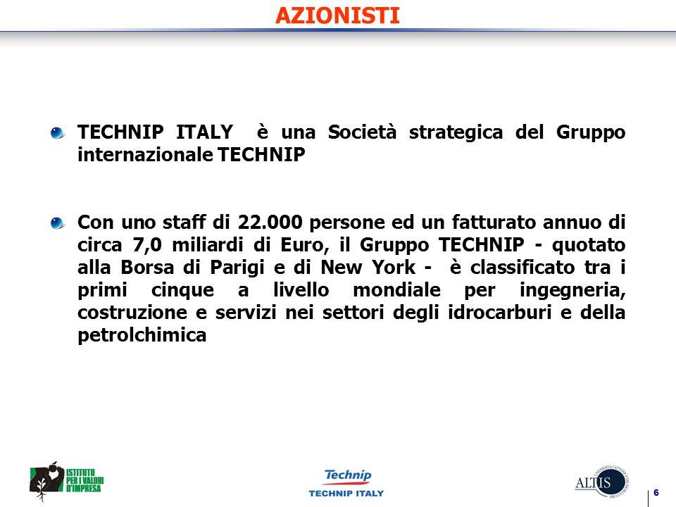 6 AZIONISTI TECHNIP ITALY è una Società strategica del Gruppo internazionale TECHNIP Con uno staff di 22.000 persone ed un fatturato annuo di circa 7,