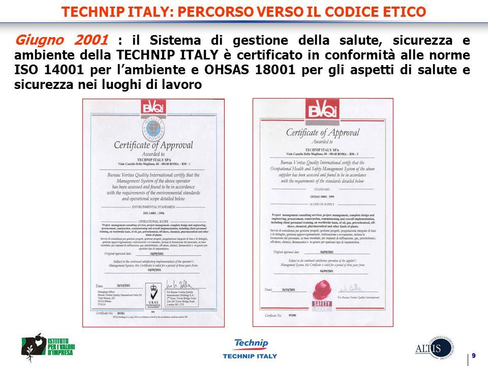 9 TECHNIP ITALY: PERCORSO VERSO IL CODICE ETICO Giugno 2001 : il Sistema di gestione della salute, sicurezza e ambiente della TECHNIP ITALY è certific