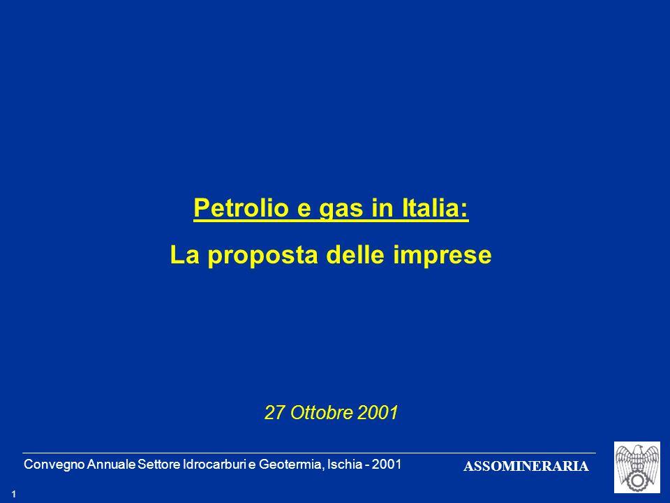 Convegno Annuale Settore Idrocarburi e Geotermia, Ischia - 2001 2 ASSOMINERARIA Petrolio e gas in Italia: produzione e riserve prod (Gmc)prod/consprod (Mt)prod/cons 199520,437,4%5,25,4% 200016,824,0%4,65,0% Riserve prodotte rimanenti potenziali GasOlio 174116 Gmc 605 218 Mt 121 84