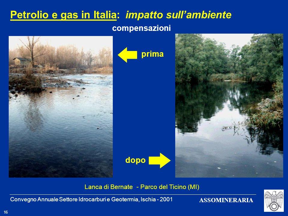 Convegno Annuale Settore Idrocarburi e Geotermia, Ischia - 2001 16 ASSOMINERARIA prima dopo Petrolio e gas in Italia: impatto sullambiente compensazio