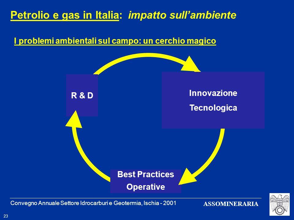 Convegno Annuale Settore Idrocarburi e Geotermia, Ischia - 2001 23 ASSOMINERARIA I problemi ambientali sul campo: un cerchio magico Petrolio e gas in