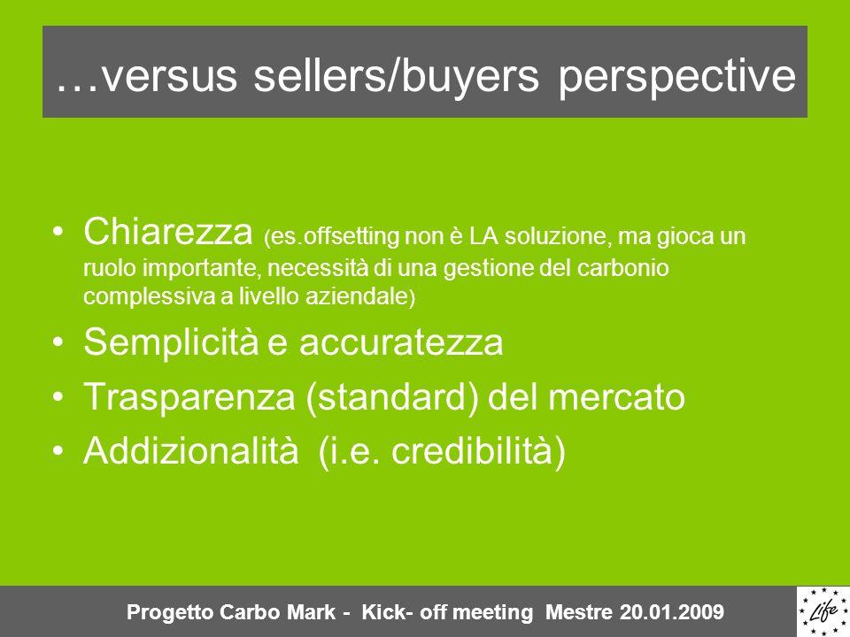 …versus sellers/buyers perspective Chiarezza ( es.offsetting non è LA soluzione, ma gioca un ruolo importante, necessità di una gestione del carbonio complessiva a livello aziendale ) Semplicità e accuratezza Trasparenza (standard) del mercato Addizionalità (i.e.