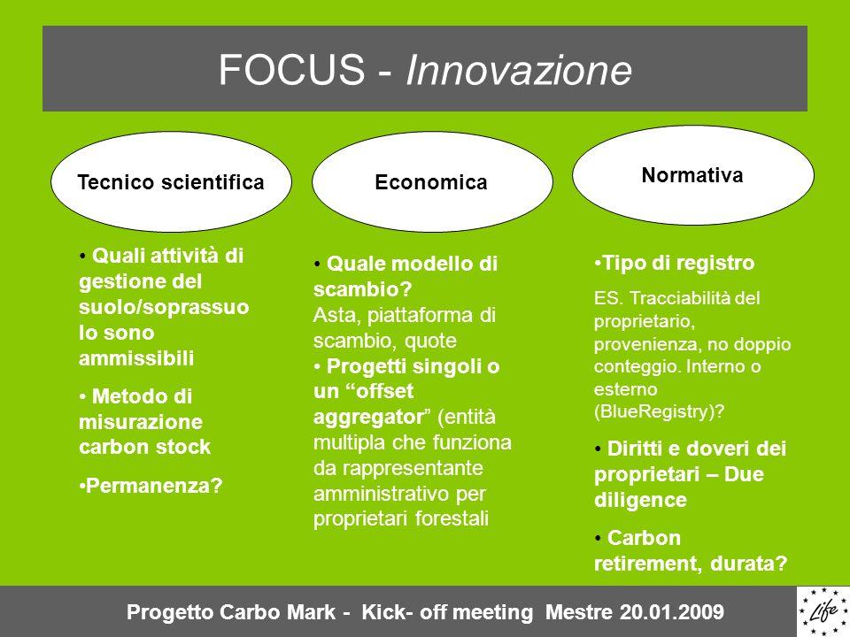 FOCUS - Innovazione Quali attività di gestione del suolo/soprassuo lo sono ammissibili Metodo di misurazione carbon stock Permanenza? Quale modello di