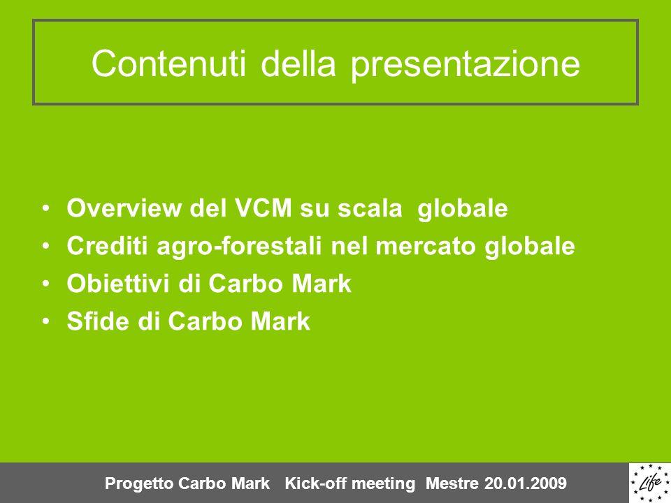 Contenuti della presentazione Overview del VCM su scala globale Crediti agro-forestali nel mercato globale Obiettivi di Carbo Mark Sfide di Carbo Mark
