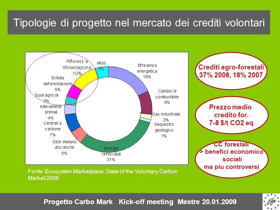 Tipologie di progetto nel mercato dei crediti volontari Fonte: Ecosystem Marketplace, State of the Voluntary Carbon Market 2008 Crediti agro-forestali 37% 2006, 18% 2007 Prezzo medio credito for.
