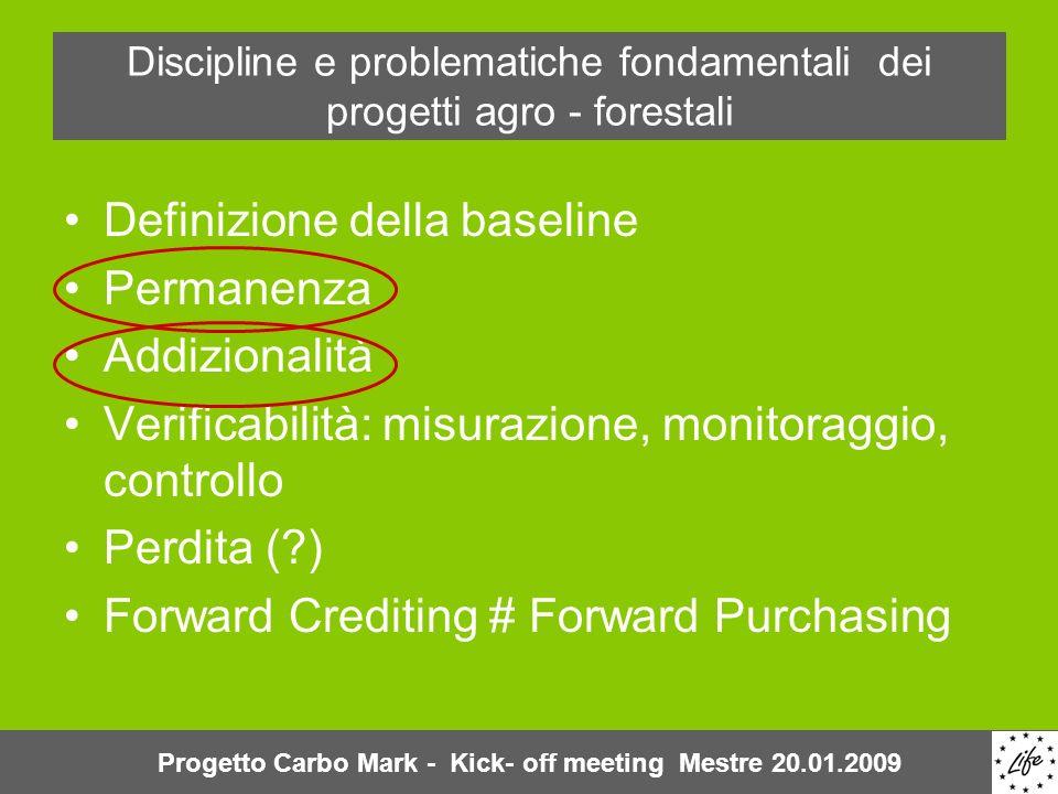 Discipline e problematiche fondamentali dei progetti agro - forestali Definizione della baseline Permanenza Addizionalità Verificabilità: misurazione, monitoraggio, controllo Perdita ( ) Forward Crediting # Forward Purchasing Progetto Carbo Mark - Kick- off meeting Mestre 20.01.2009