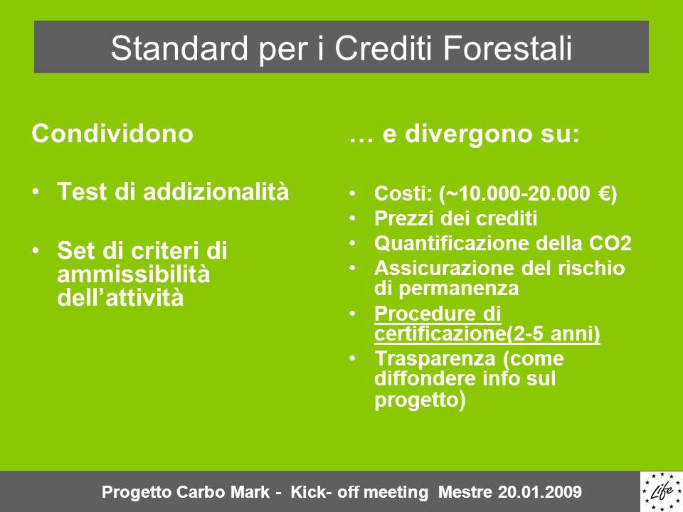 Standard per i Crediti Forestali Condividono Test di addizionalità Set di criteri di ammissibilità dellattività … e divergono su: Costi: (~10.000-20.000 ) Prezzi dei crediti Quantificazione della CO2 Assicurazione del rischio di permanenza Procedure di certificazione(2-5 anni) Trasparenza (come diffondere info sul progetto ) Progetto Carbo Mark - Kick- off meeting Mestre 20.01.2009
