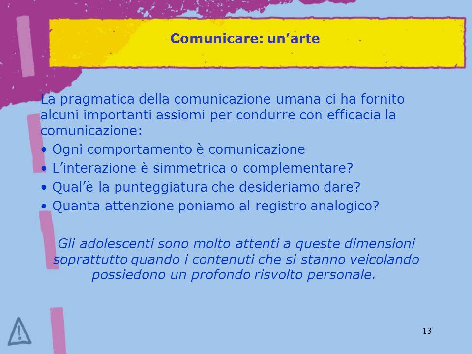 13 Comunicare: unarte La pragmatica della comunicazione umana ci ha fornito alcuni importanti assiomi per condurre con efficacia la comunicazione: Ogni comportamento è comunicazione Linterazione è simmetrica o complementare.