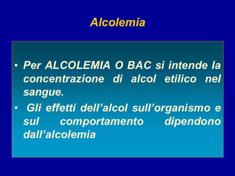 Alcolemia Per ALCOLEMIA O BAC si intende la concentrazione di alcol etilico nel sangue. Gli effetti dellalcol sullorganismo e sul comportamento dipend