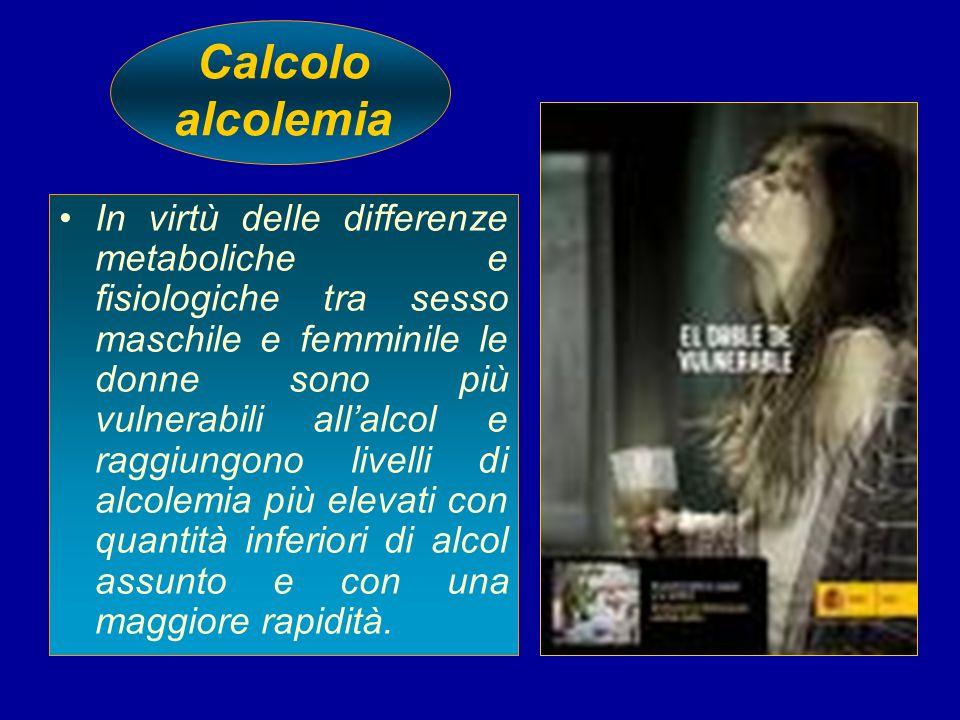 Calcolo alcolemia In virtù delle differenze metaboliche e fisiologiche tra sesso maschile e femminile le donne sono più vulnerabili allalcol e raggiun