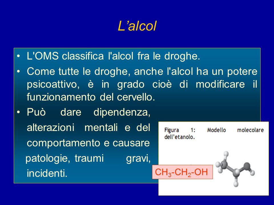 Lalcol L'OMS classifica l'alcol fra le droghe. Come tutte le droghe, anche l'alcol ha un potere psicoattivo, è in grado cioè di modificare il funziona