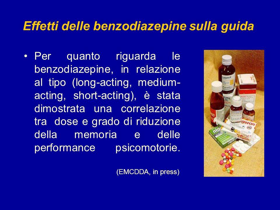 Effetti delle benzodiazepine sulla guida Per quanto riguarda le benzodiazepine, in relazione al tipo (long-acting, medium- acting, short-acting), è st